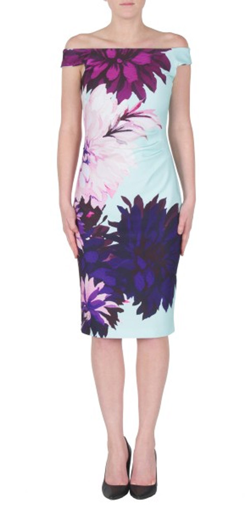 Joseph Ribkoff Off Shoulder Bold Floral Dress