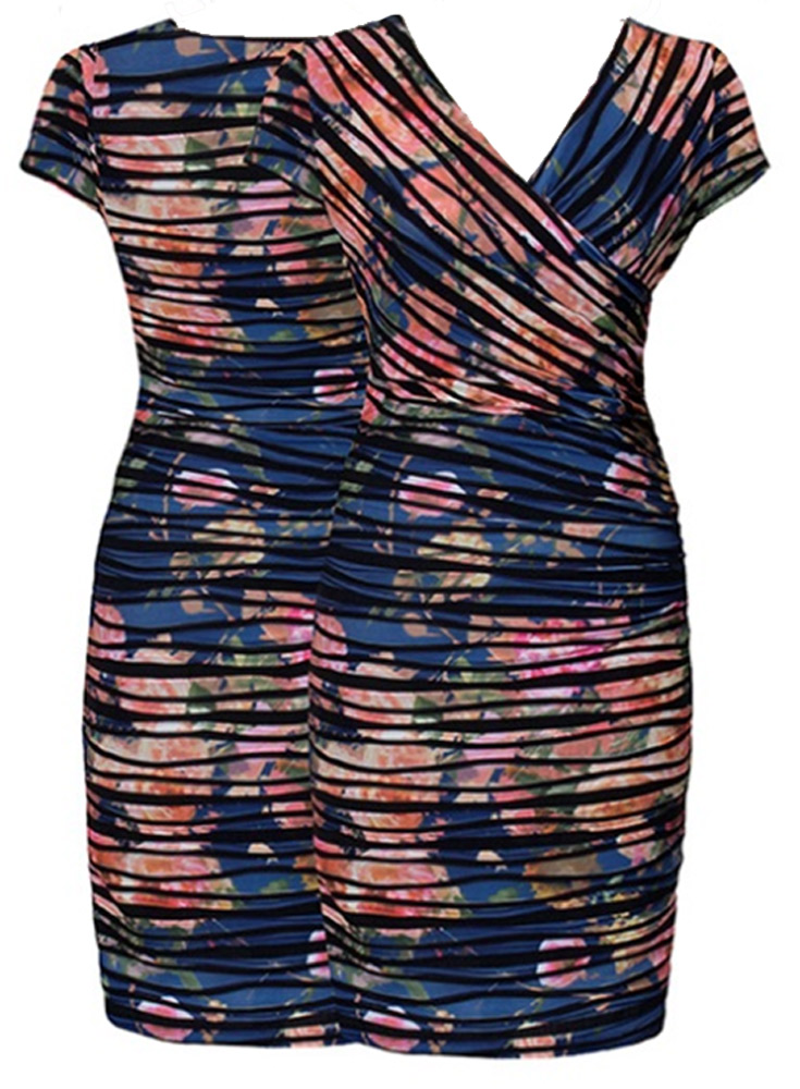 Joseph Ribkoff Floral Stripe Reversible Dress