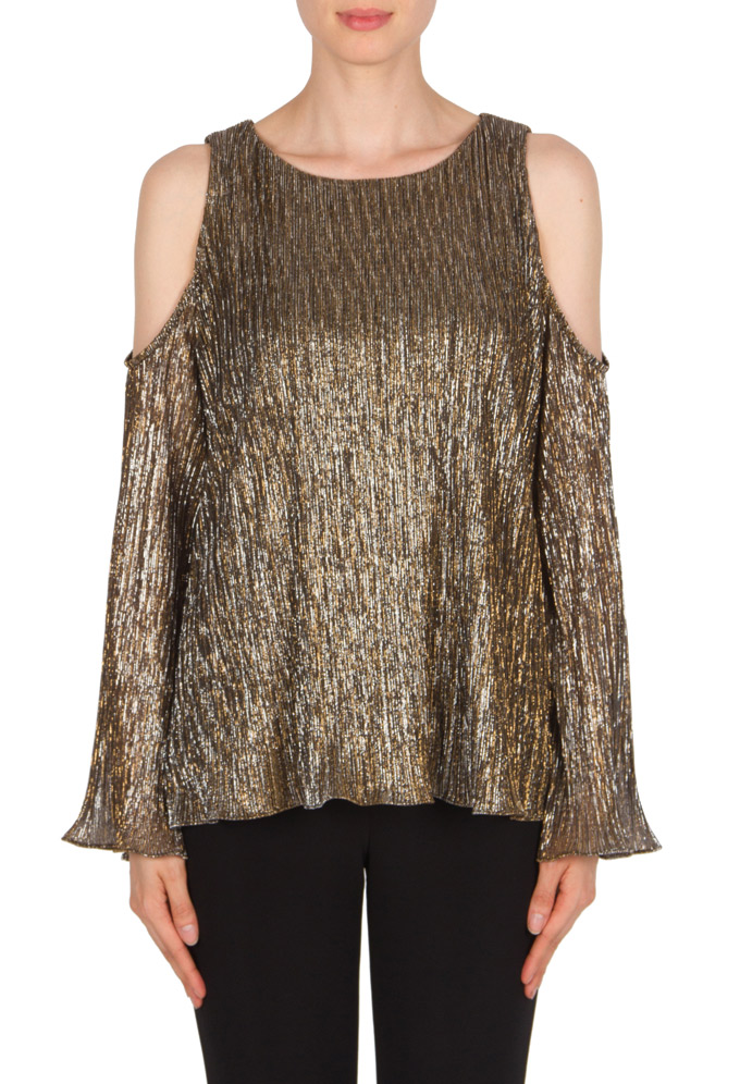 Joseph Ribkoff Cold Shoulder Metallic Top