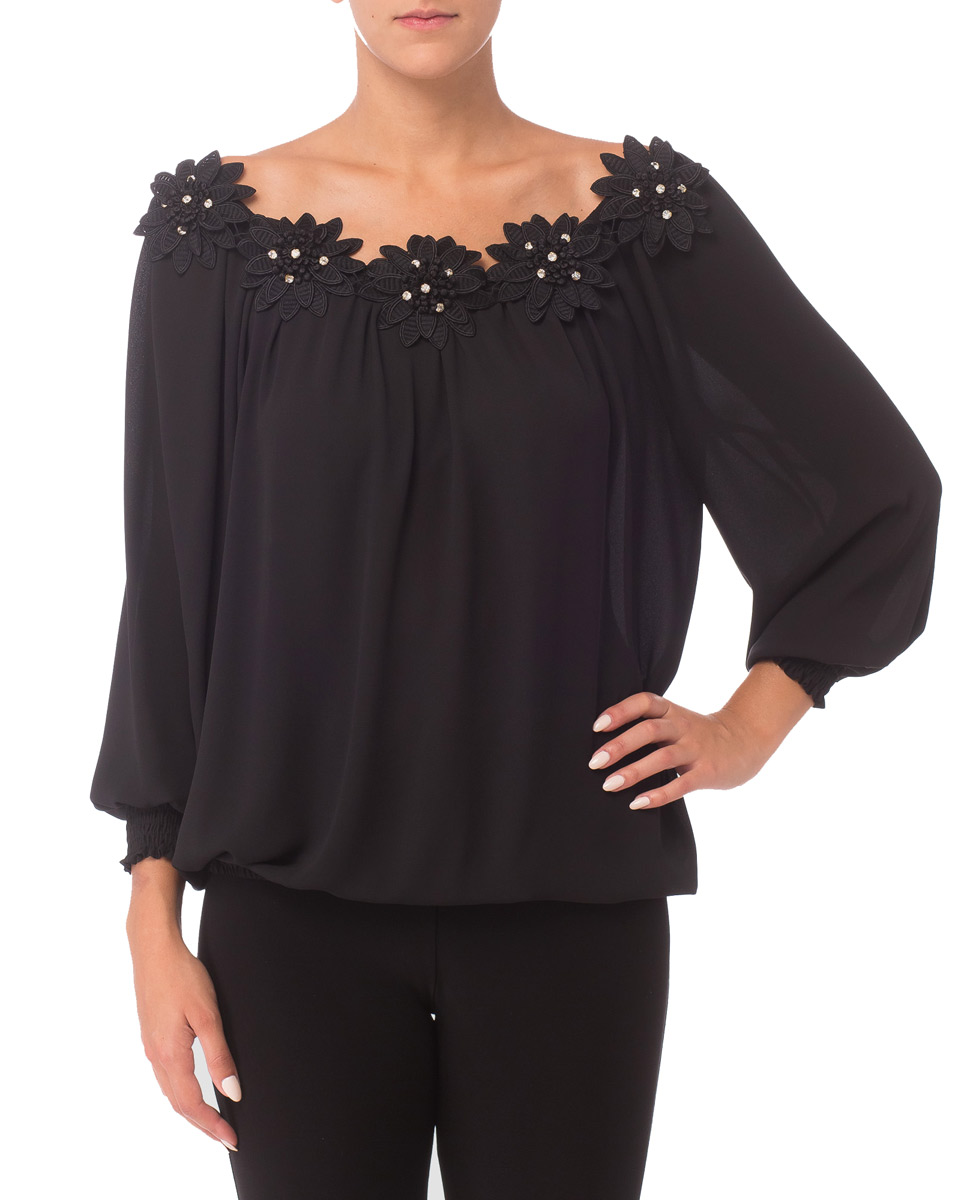 Joseph Ribkoff Flower Adorned Blouse