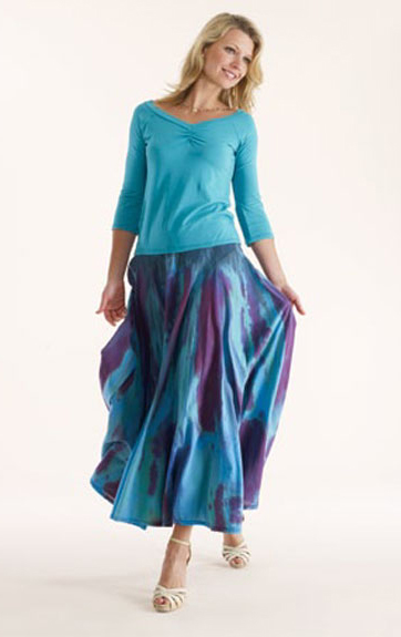 Luna Luz Garment Dyed Sweetheart Top and Vented Flounce Skirt