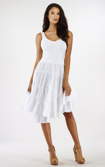 Luna Luz Garment Dyed Positano Tank Dress with Tiered Skirt