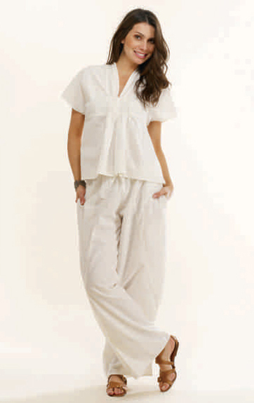 Luna Luz Garment Dyed Linen Drop Sleeve Top and Luna Luz Garment Dyed Linen Pull On Pant