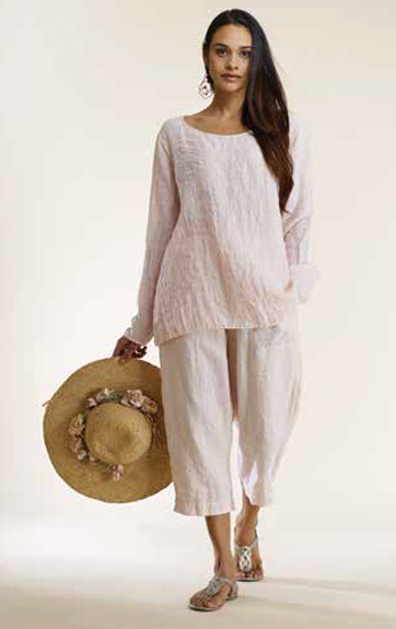 Luna Luz Garment Dyed Linen Gauze Scoop Neck Long Sleeve Top