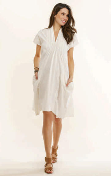 Luna Luz Garment Dyed Linen Crushed Smock Collar Dress