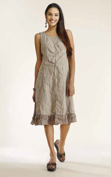 Luna Luz Garment Dyed Linen and Rib A Line Dress with Crochet Lace Back