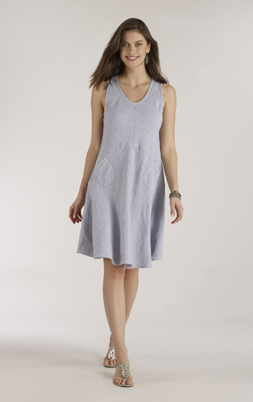 Luna Luz Woven Stripe Linen Tank Dress