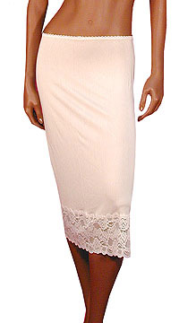 Mary Green Silk Knit Slip with Lace