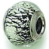 Zable Black Silver Murano Glass Bead
