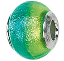 Zable Blue Green Murano Glass Bead