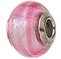 Zable Pink Stripe Murano Glass Bead