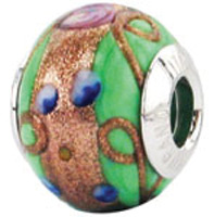 Zable Green Floral Murano Glass Bead